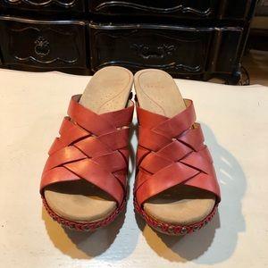 Dansko Tory red wedge sandal